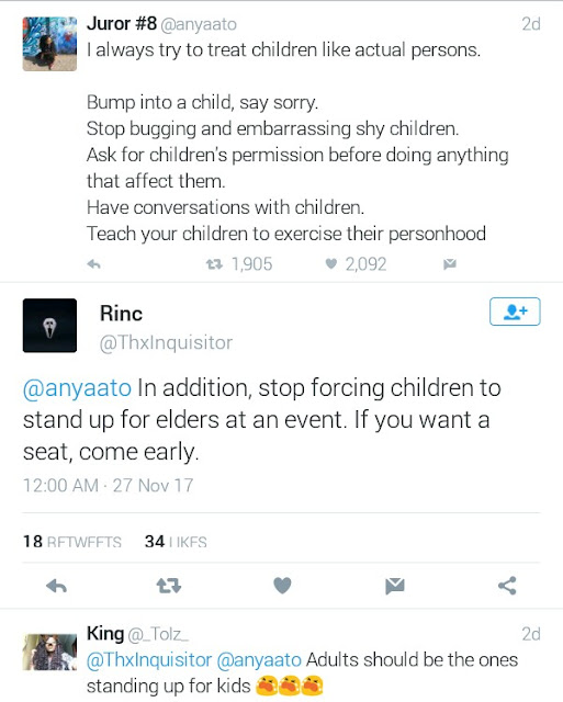 """Stop forcing children to stand up for elders at events. If you want a seat, come early - Nigerian Twitter user"