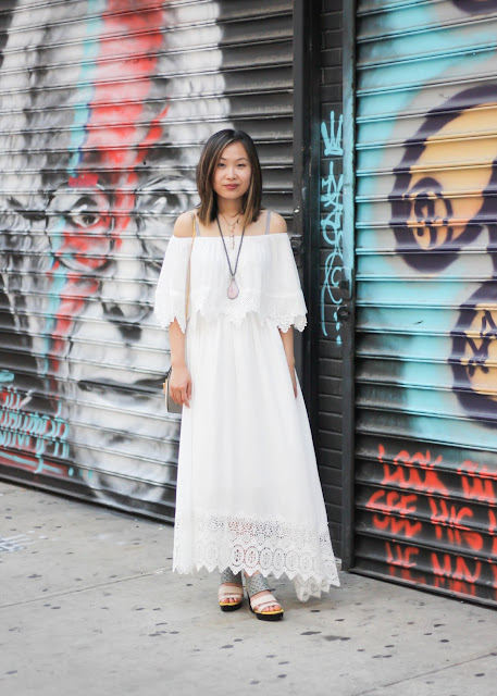 Off the Shoulder Boho Maxi Dress