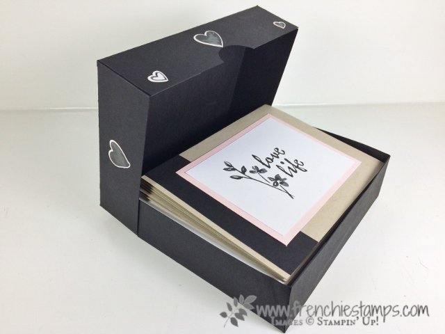 Box for Greeting Cards, 12 cards and envelop will fit in this box, Frenchie Live, Stampin'Up!