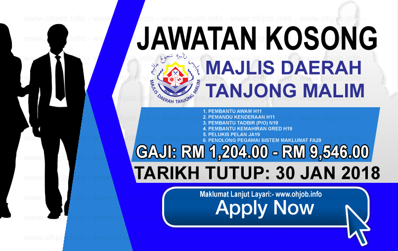 Jawatan Kerja Kosong Majlis Daerah Tanjung Malim - MDTM logo www.ohjob.info januari 2018
