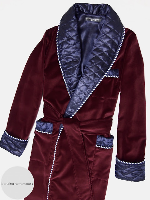 Mens red velvet dressing gown quilted smoking jacket