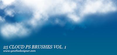 25 pinceles photoshop nubes