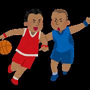 バスケットボールをする黒人のイラスト