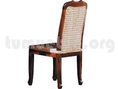 silla asiento rattan en teca 4121