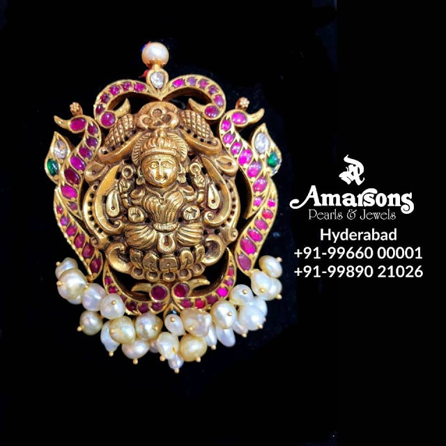 Lakshmi Pendants with Rice Pearls