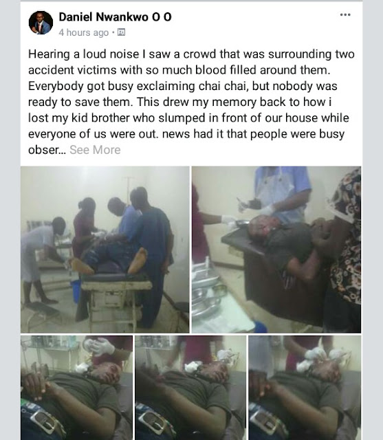 Photos: Nigerian man rescues accident victims, narrates how his kid brother died as onlookers ignored him after he slumped