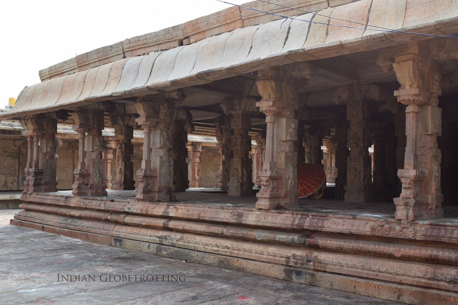 Pillared hall in bhoga nandeeshwara temple in Nandi Village in Karnataka