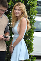 Bella Thorne shows skin in a mini dress on lunch date with Gregg Sulkin