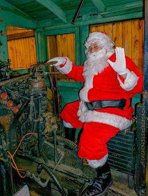 Santa Claus with Shay locomotive at PA Lumber Museum