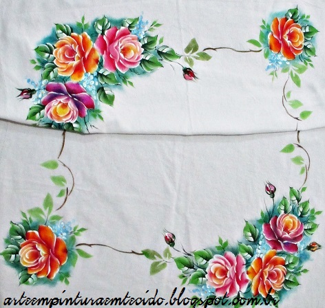 toalha de mesa pintura em tecido