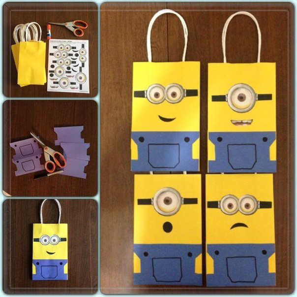 bolsas con motivo de minions para usar como souvenir en la fiesta de cumpleaños temática