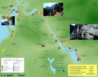 Mapa del Caminito del Rey.