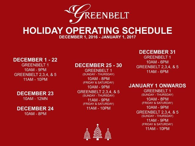Greenbelt mall schedule Christmas 2016