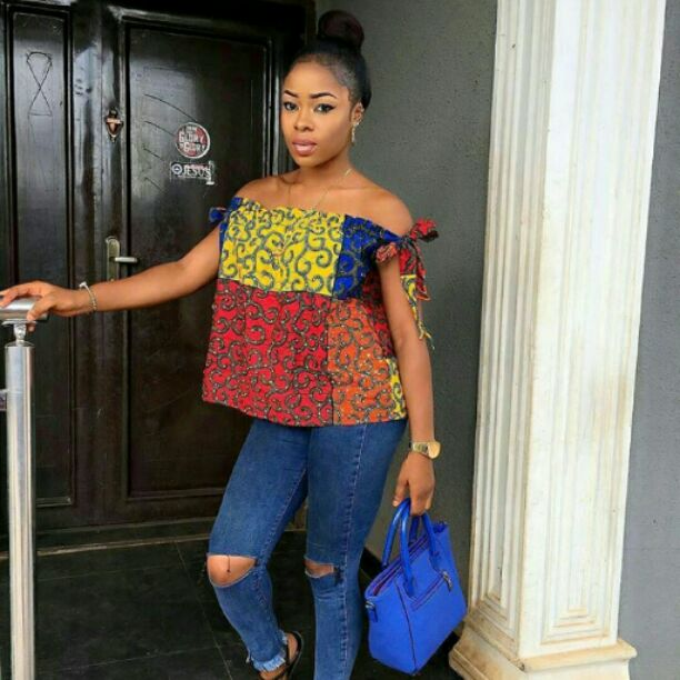 ankara top on ripped jeans