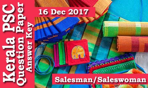 Kerala PSC - 524/13 - Salesman/Saleswoman (Paper Code C)