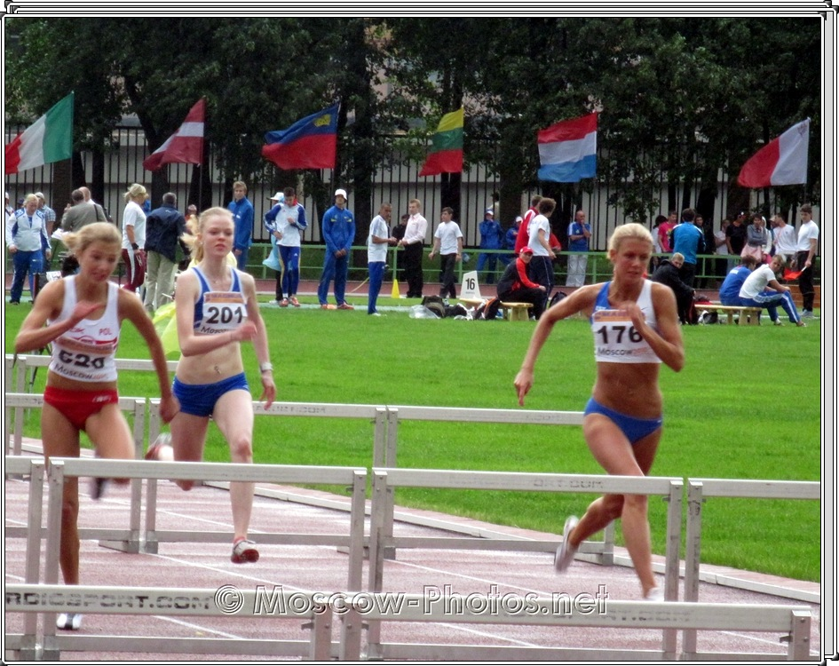 Sprint hurdles for girls. European Youth Olympic Trials.