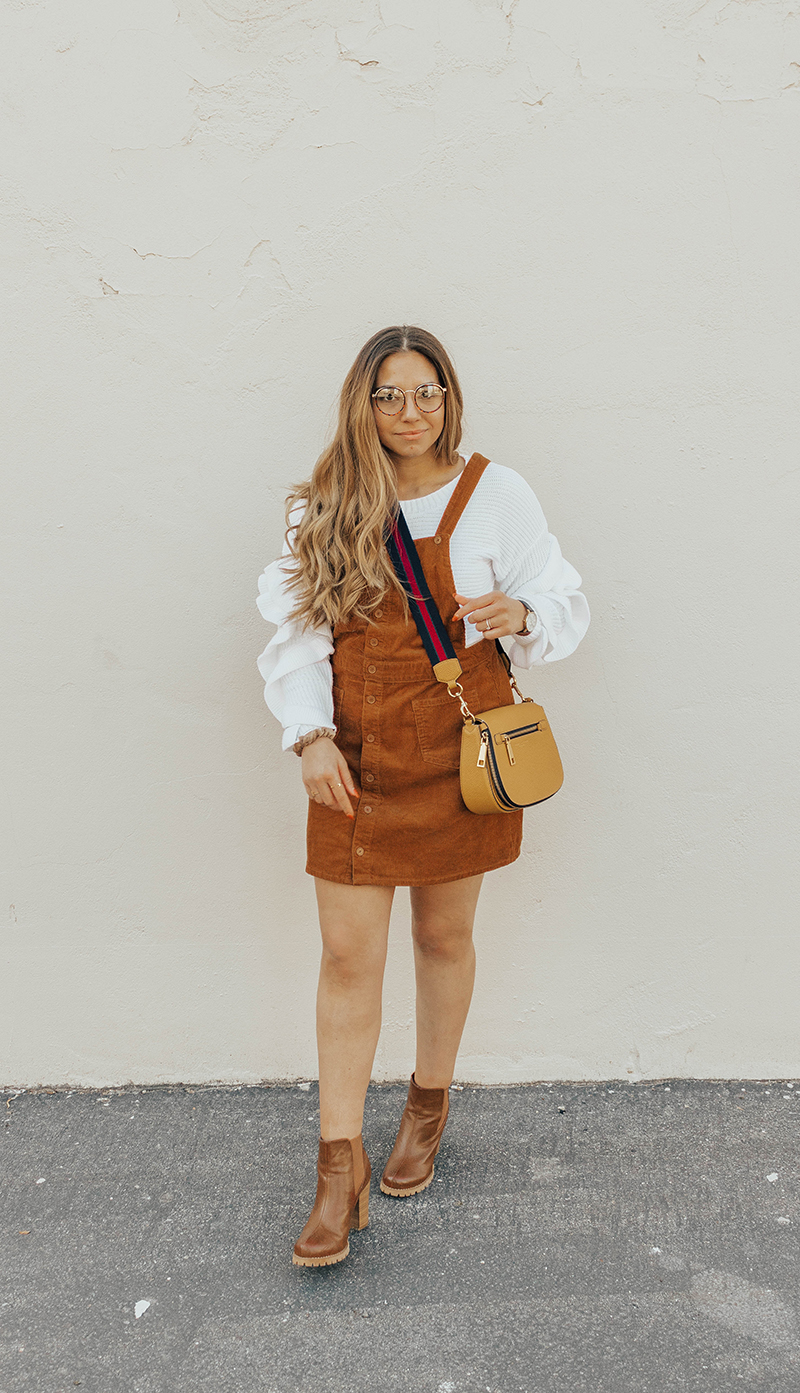 pinafore dress, overall dress, corduroy dress