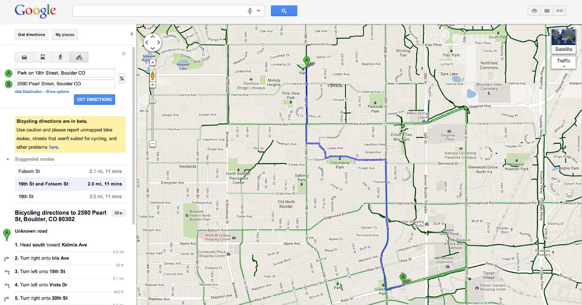 Google Lat Long Take The Green Route In Google Maps - Boulder bike path map