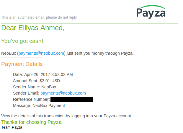 Payment proof of Neobux