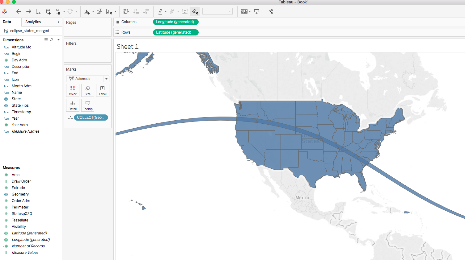 Tableau Will Generate The Laude And Longitude And Render Your States With Eclipse Path