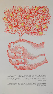 A giant hand in red ink grasps a lemon tree . Below the image are two quotes on the Lemon incident in black.