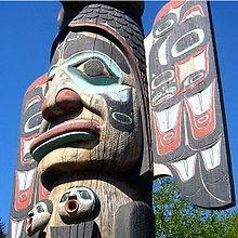Totem Tlingit em Ketchican, no Alasca