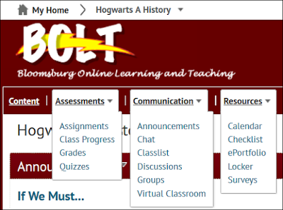 screenshot of new navigation in course with links Content, Assessments, Communication, and Resources
