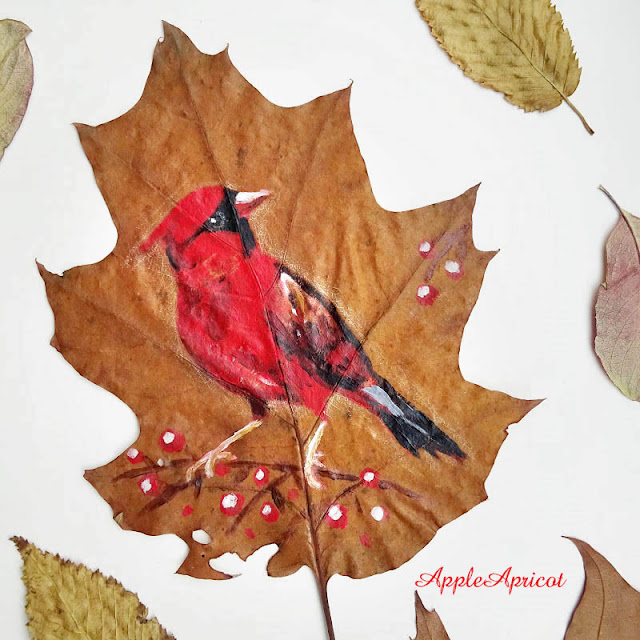 bird painting on leaf by AppleApricot Wen