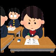 テスト・受験のイラスト「試験中の女子学生」