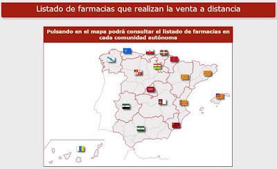 Mapa de farmacias registradas para venta de medicamentos en Internet.