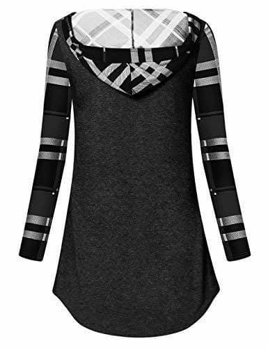 women's long sleeve plaid hoodie shirt