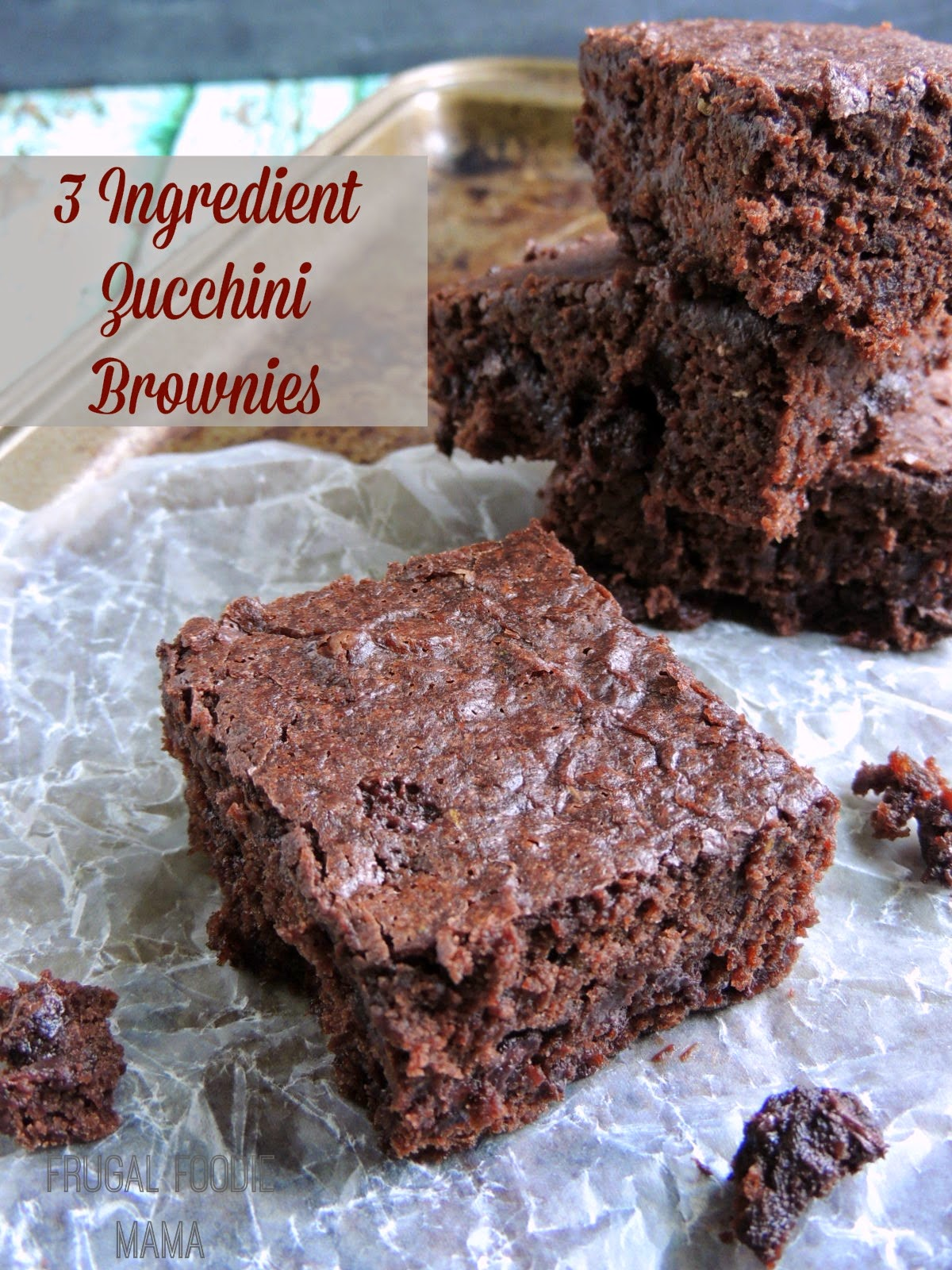 3 Ingredient Zucchini Brownies via thefrugalfoodiemama.com- these incredibly moist brownies are so easy to make, plus bonus hidden veggies!