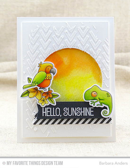 Hello Sunshine Card by Barbara Anders featuring the Birdie Brown Polynesian Paradise stamp set and Die-namics, the Blueprints 13, Blueprints 20, and Inside & Out Stitched Circle Die-namics, and the Wonky Chevron stencil #mftstamps