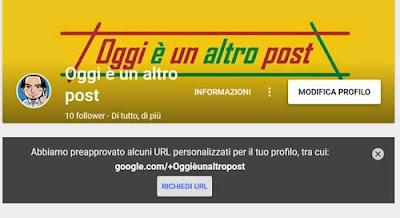 Come ottenere url personalizzato google+