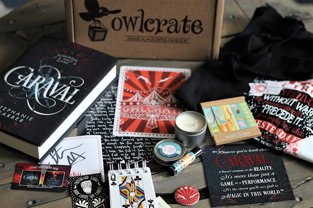 February 2017 OwlCrate Subscription Box- book Caraval by Stephanie Garber gets 4 out of 5 stars in my book review of this ya lit fantasy read. Circus, Magic, Abuse, Love, Adventure, Scavenger Hunt http://alohamoraopenabook.blogspot.com/ Alohamora Open a Book