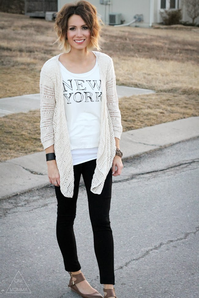 Cream graphic tee and an open knit cardigan for Spring