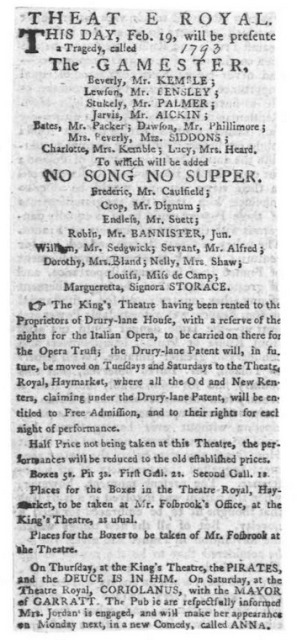 No Song No Supper 1793