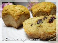 Muffins salés courgette et raisins secs, sans gluten