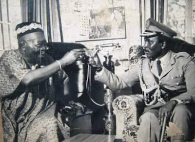 Oba Adesoji Aderemi and General Yabuku Gowon. A toast to one Nigeria.