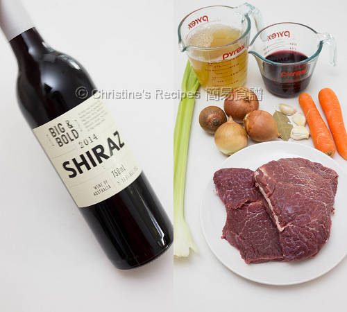 紅酒燜牛頰肉材料 Ingredients of Beef Cheek Stew with Red Wine