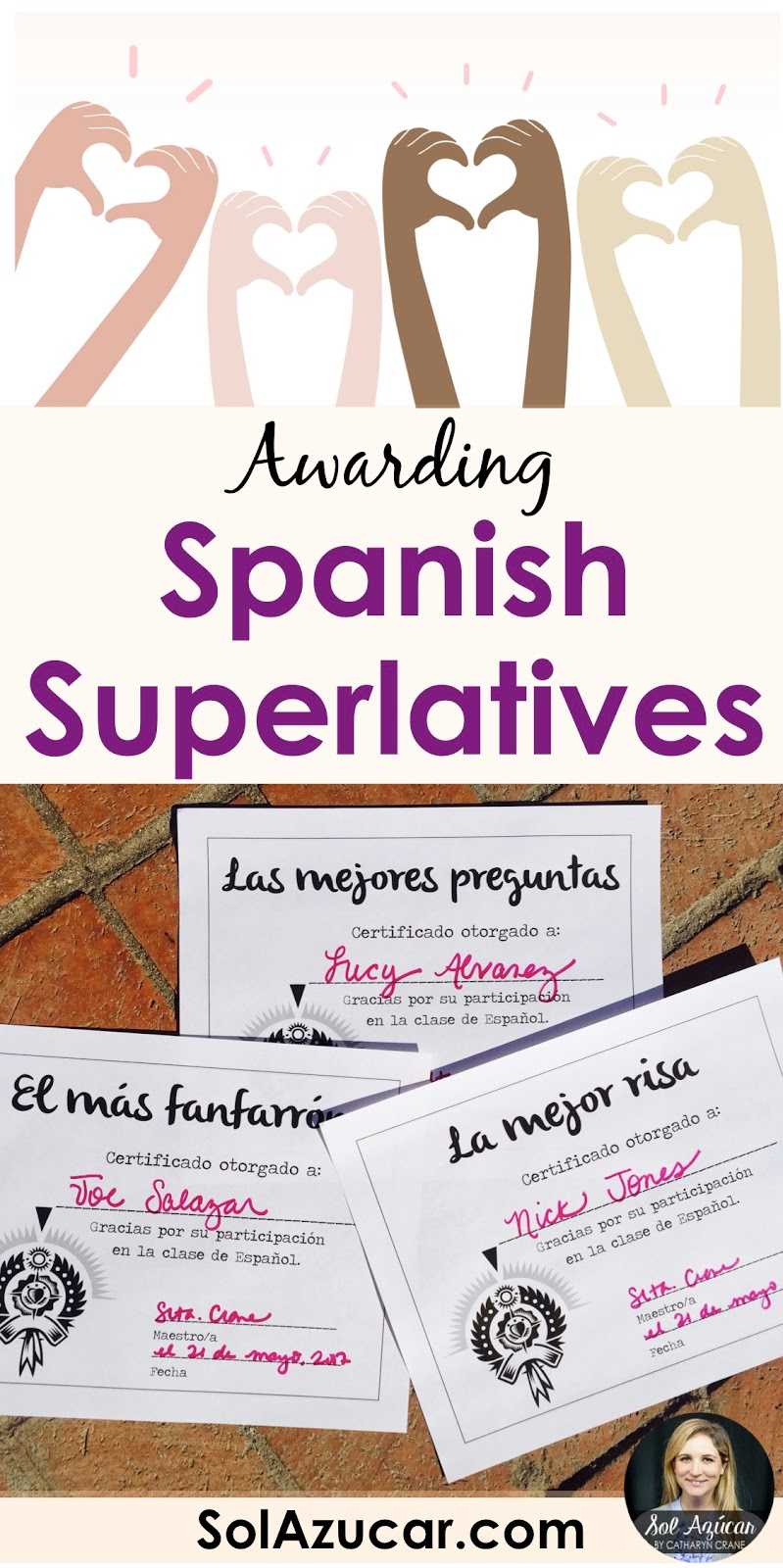 spanish superlatives end of the year student awards sol azúcar by