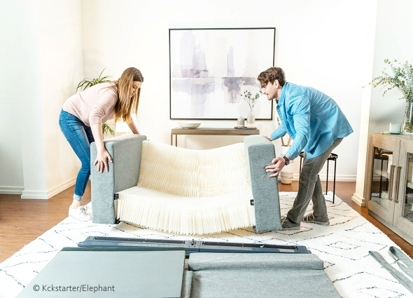 sofá, plegable, desplegable, origami, acordeón, tiendas, compras