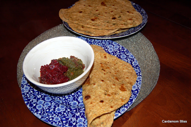 Beetroot Masala with Sag Paneer and Gluten reduced chapatis