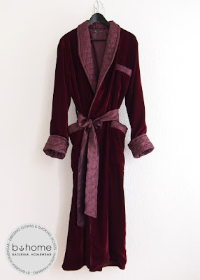 Classic burgundy red bordeaux mens dressing gown english style bespoke luxury robe long quilted