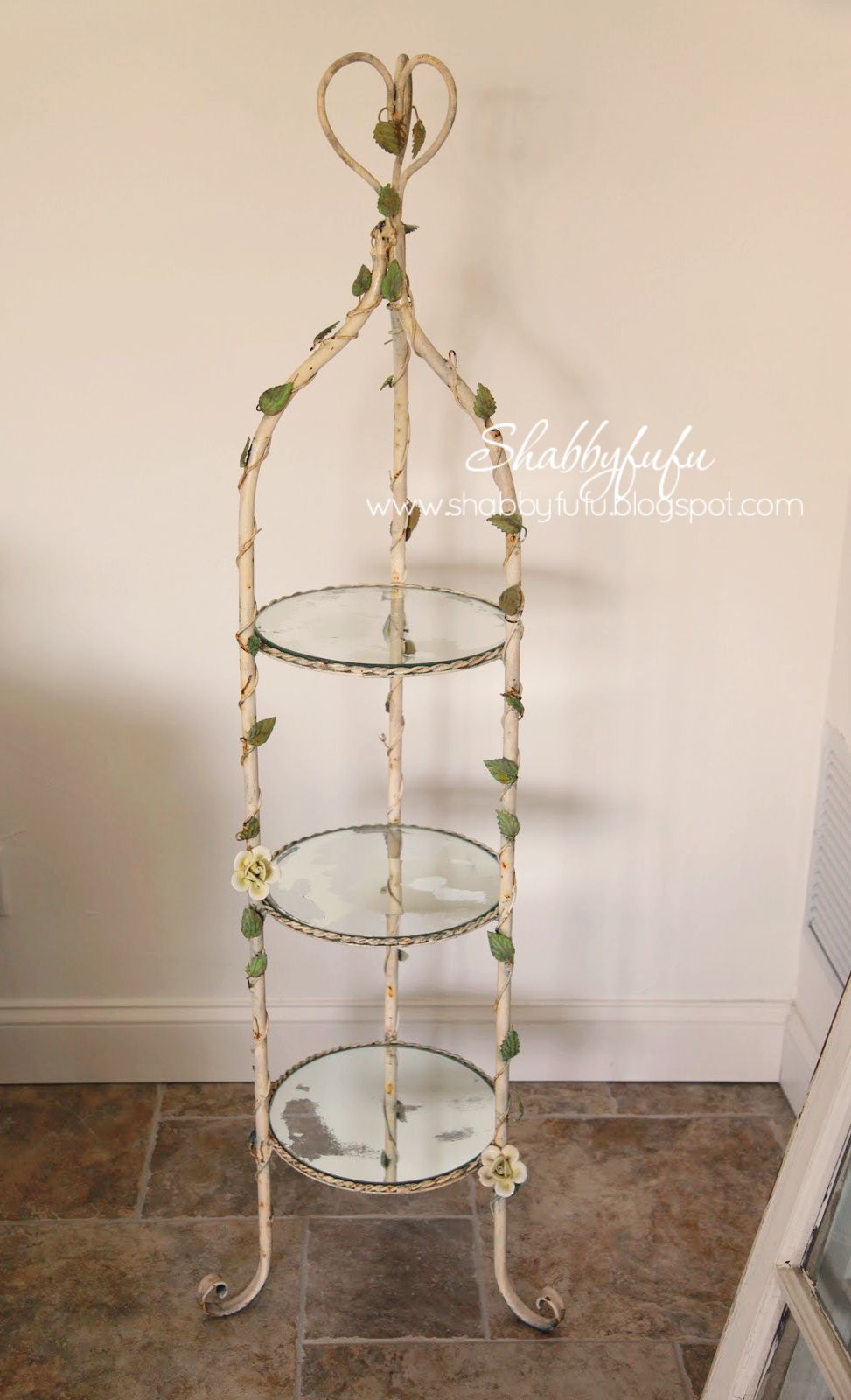Thes mirror shelves were once shiny and reflective, but this DIY mirror patina made them look old and antique.