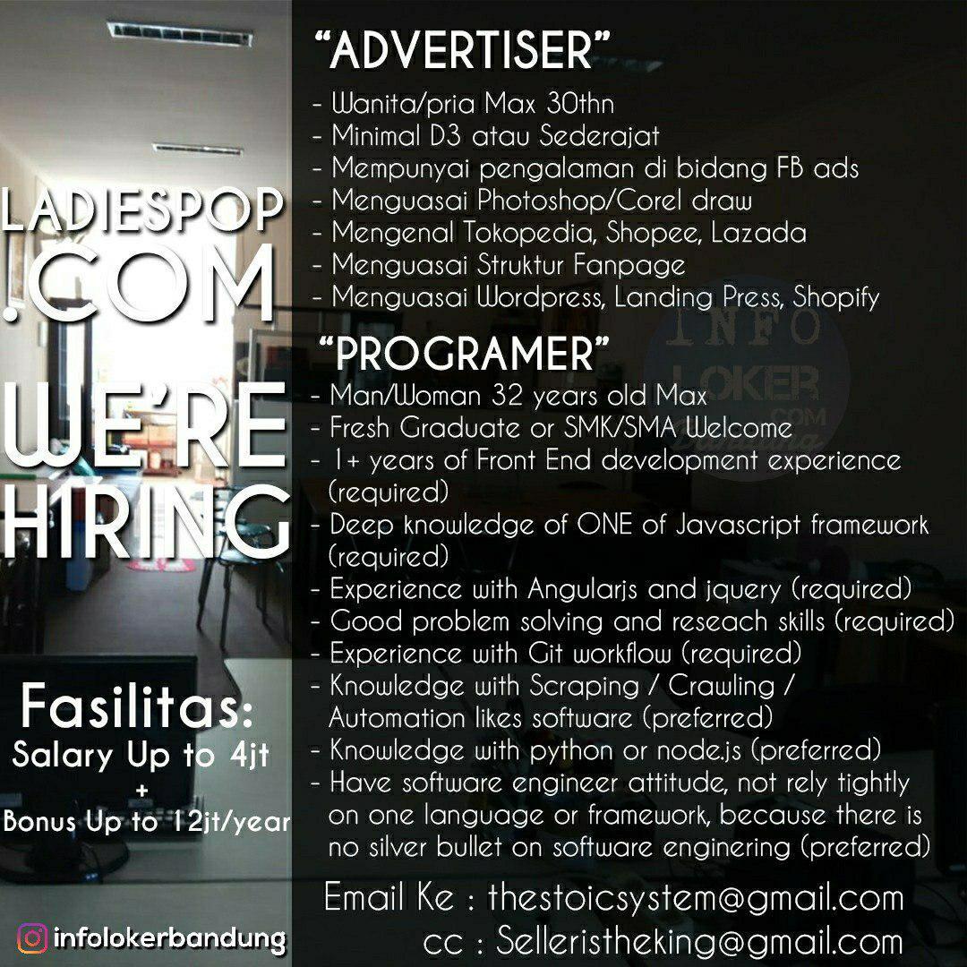 Lowongan Kerja Advertiser & Programer Ladiespop Com Bandung Juli 2018