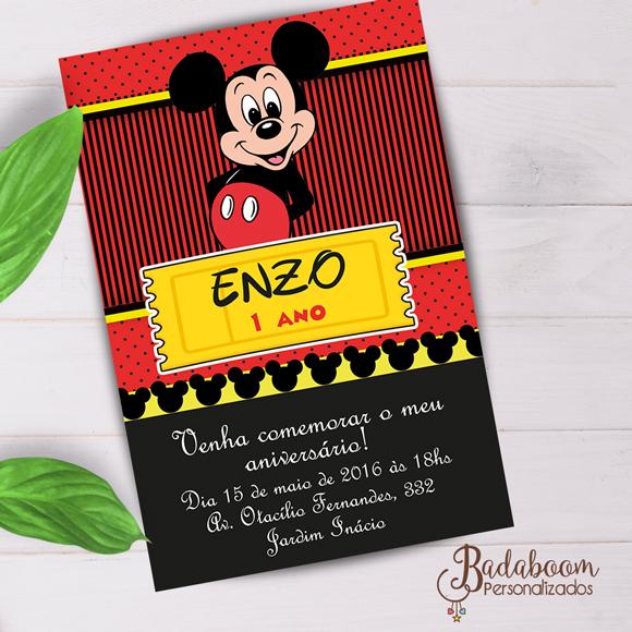 Mickey, convite, digital, imprimir, personalizado, arte, whatsapp, festa, infantil