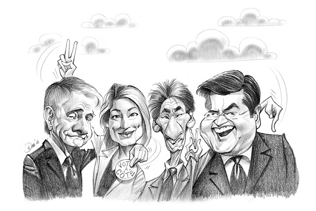Carte, politique, politiciens, mairie, montreal, mayor, denis coderre, melanie joly, groupe, group, gift, cadeau, caricature, caricaturist