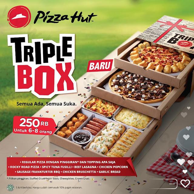 Promo PIZZA HUT TRIPLE BOX Rp 250.000 Untuk 6 – 8 Orang