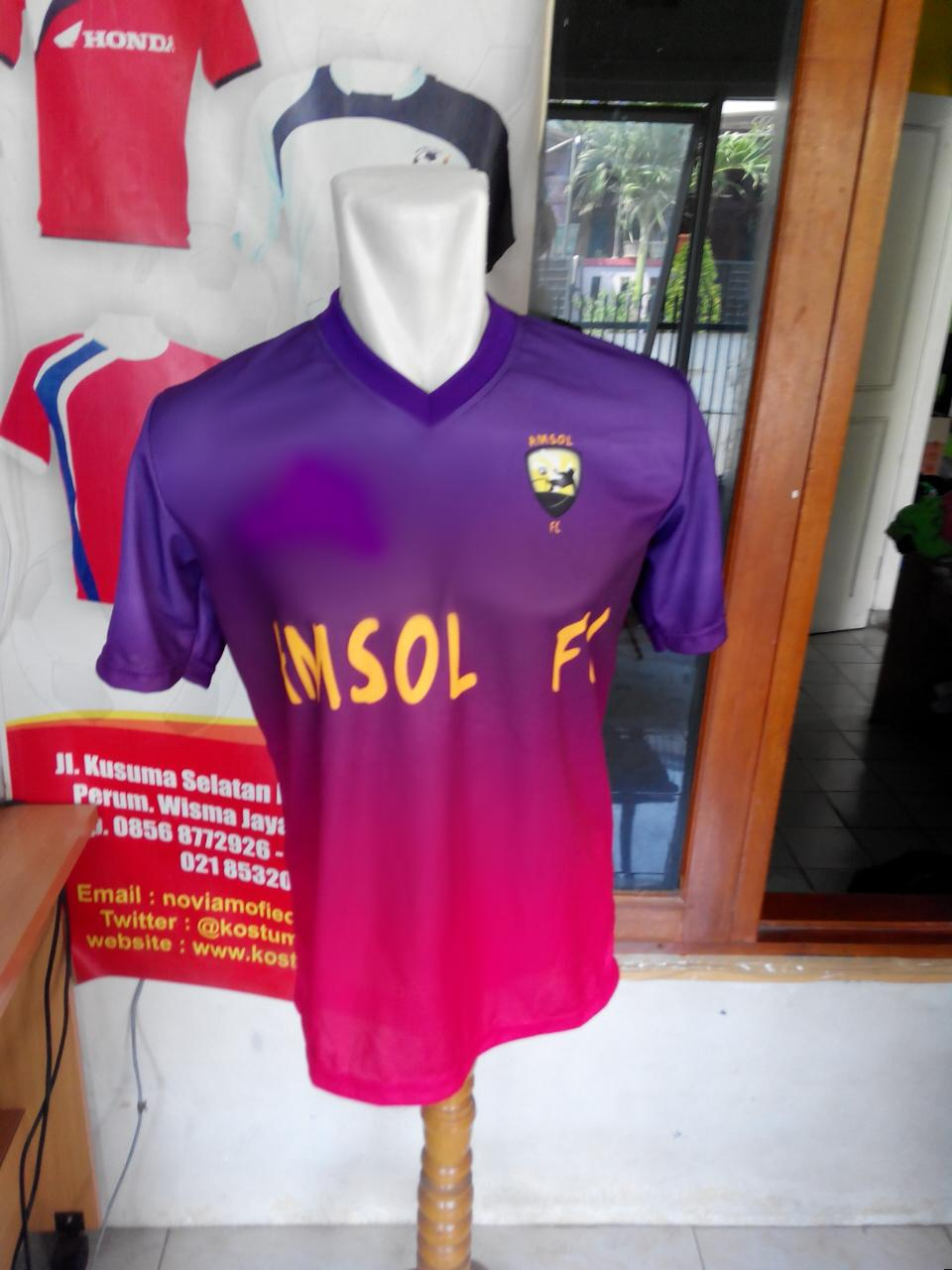 Kostum Bola Custom Berkualitas Desain Jersey Futsal Full Printing Amsol Fc Ini Memakai Gradasi Warna Yang Indah Di Lihat Dengan Ungu Dan Merah Muda Menjadikan